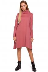 Różowa Asymetryczna Trapezowa Sukienka z Golfem