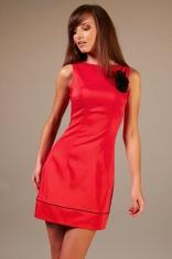 Czerwona Elegancka Sukienka z Kontrastowymi Lamówkami na Szerokich Ramiączkach