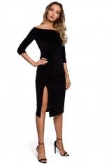 Czarna Welurowa Sukienka Ołówkowa ze Zmysłowym Dekoltem