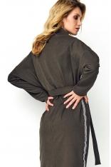 Khaki Sukienka o Kimonowym Kształcie z Lampasami