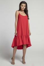 Czerwona Zwiewna Sukienka z Asymetryczną Falbanką na Cienkich Ramiączkach