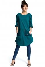 Zielona Codzienna Trapezowa Sukienka Tunika z Kieszeniami