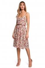 Rozkloszowana Sukienka w Kwiatki na Cienkich Ramiączkach - Model 5