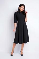 Czarna Sukienka Wizytowa Midi z Szerokim Dołem