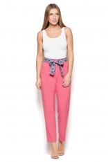 Różowe Spodnie Cygaretki z Wiązaną Szarfą
