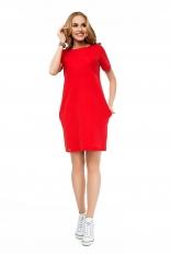 Czerwona Sportowa Sukienka Typu Bombka z Krótkim Rękawem