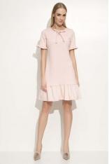 Różowa Sukienka z Wiązaną Kokardką pod Szyją