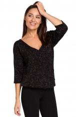 Czarny Nietuzinkowy Sweterek z Dekoltem V