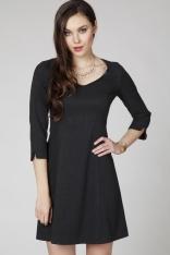 Czarna Sukienka z Połyskującego Materiału