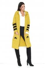 Żółty Dwukolorowy Długi Sweter z Kapturem z Napisem NUMINOU