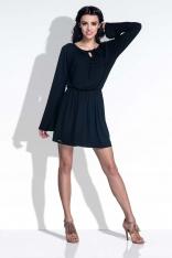 Czarna Sukienka z Rozkloszowanymi Rękawami