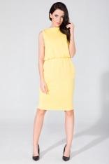 Dresowa Żółta Sukienka na Co dzień