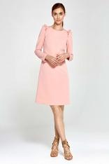 Różowa Sukienka Trapezowa z Falbankami na Ramionach