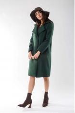 Zielony Wełniany Prosty Płaszcz z Krytym Zapięciem