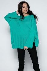 Zielony  Sweter Asymetryczny z Rozkloszowanymi Rękawami
