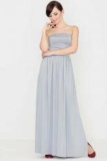 Szara Zmysłowa Gorsetowa Maxi Sukienka