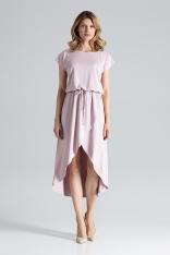 Różowa Ciekawa Sukienka z Wiązanymi Troczkami w Pasie