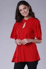 Czerwona Elegancka Bluzka z Motylkowym Rękawem z Paskiem