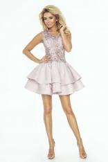 Elegancka Pudrowo-Różowa Rozkloszowana Sukienka z Koronką