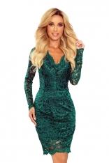 Koronkowa Sukienka Koktajlowa - Zielona