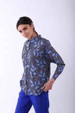 Niebieska Koszula z Kimonowym Rękawem