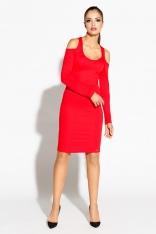 Czerwona Ołówkowa Sukienka z Wyciętymi Ramionami