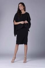 Czarna Dopasowana Sukienka z Asymetryczną Narzutką