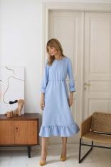 Długa Sukienka z Falbankami - Błękitna