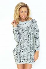 Szara Mini Sukienka z Opadającym Golfem i Kieszeniami