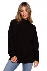 Ciepły Sweter z Krótkim Golfem - Czarny