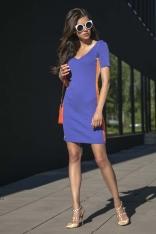 Fioletowa Sportowa Prążkowana Mini Sukienka z Lampasem