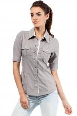 Klasyczna Koszula z Krótkim Rękawem - Brązowy