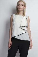 Biała Elegancka Bluzka z Asymetryczną Falbanką