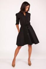 Czarna Sukienka ze Stójką z Rozkloszowanym Dołem