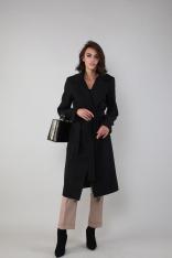 Czarny Klasyczny Płaszcz Wiązany w Talii