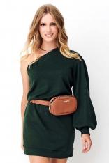 Zielona Dzianinowa Mini Sukienka na Jedno Ramię