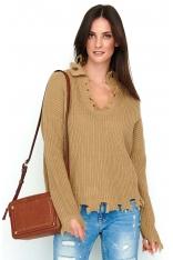 Orzechowy Casualowy Oversizowy Sweter z Efektem Rozdarcia
