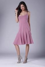 Różowa Midi Sukienka na Ramiączkach z Falbanką