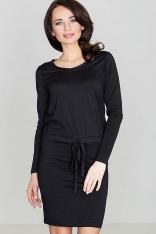 Czarna Wygodna Sukienka Midi z Troczkami w Talii