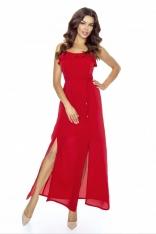 Czerwona Sukienka Długa Wieczorowa na Ramiączkach