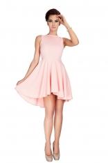 Brzoskwiniowa Sukienka Elegancka Mocno Rozkloszowana z Wydłużonym Tyłem