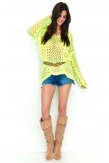 Żółty Ażurowy Sweter Oversize