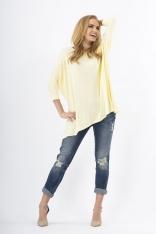Stylowy Żółty Casualowy Sweter Kimono