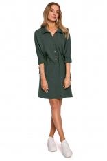 Bawełniana Sukienka z Kołnierzykiem - Zielona