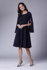 Granatowa Sukienka Midi z  Wirującym Dołem i Rozciętym Rękawem