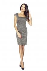 Sukienka z Wzorem w Kratkę z Dekoltem Karo