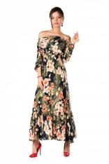 Długa Zwiewna Sukienka w Kwiaty Hiszpańskim Dekoltem