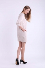 Beżowa Krótka Dzianinowa Sukienka z Kieszeniami