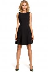 Czarna Efektowna Sukienka bez Rękawów z Szerokim Dołem