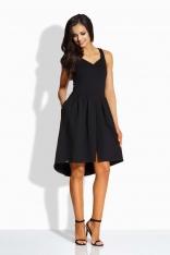 Czarna Kobieca Sukienka na Szerokich Ramiączkach